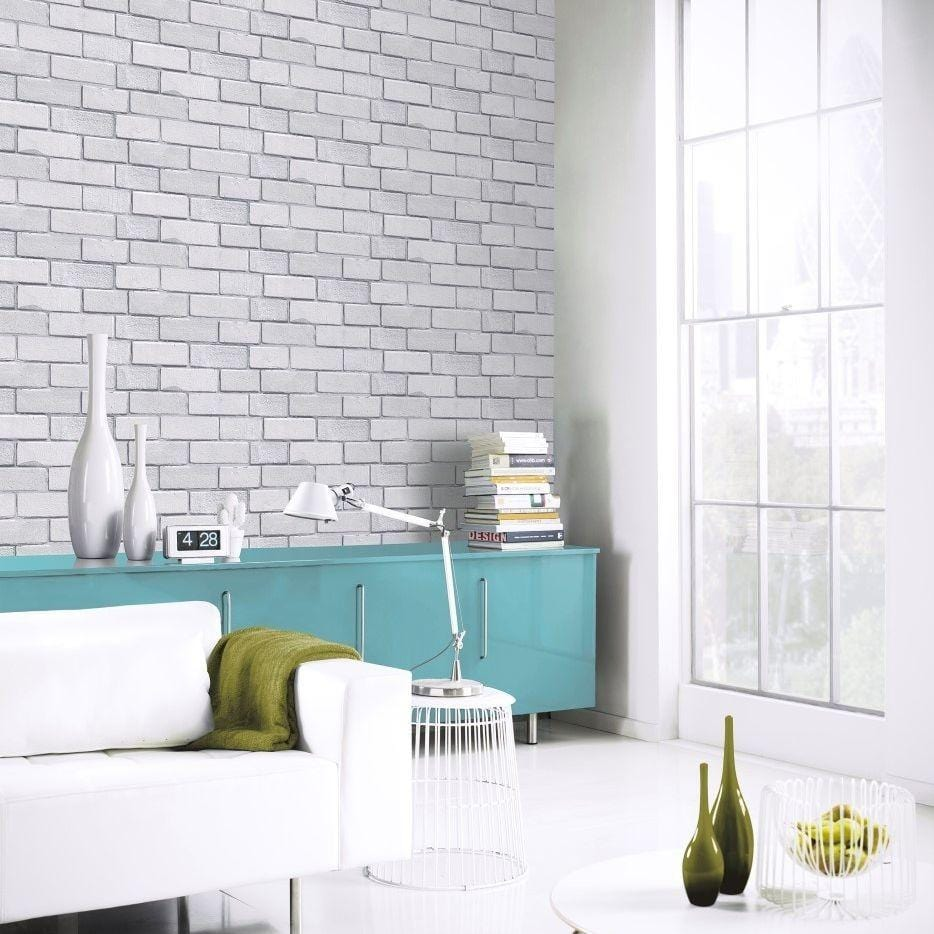 Diamond Brick Silver Grey Wallpaper