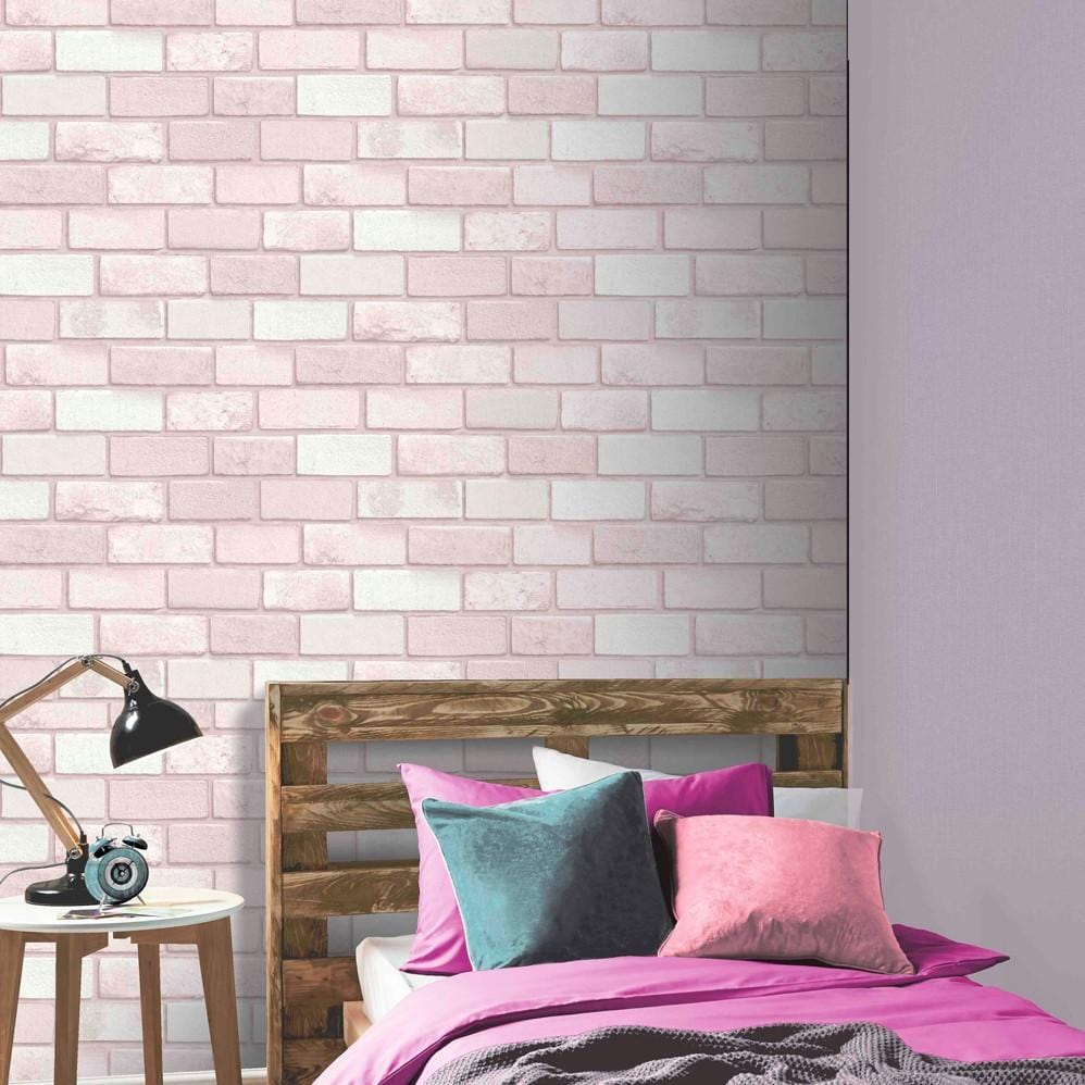 Diamond Pink Glitter Brick Wallpaper By Arthouse 260005