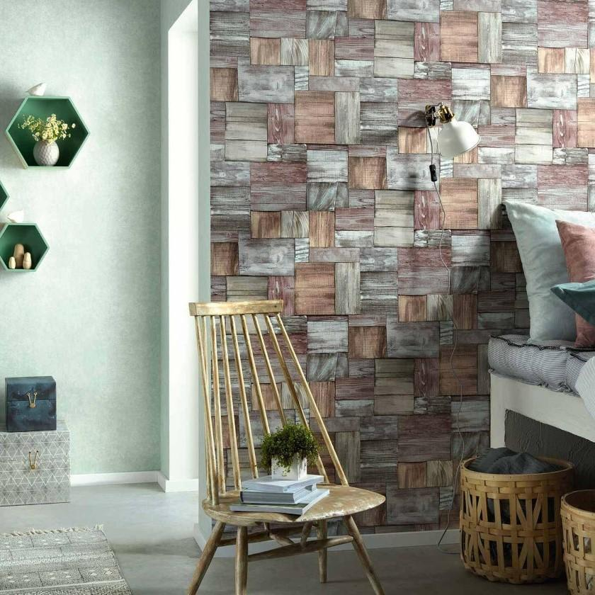 Erismann Wallpapers Countryside Multi Wood Blocks Wallpaper
