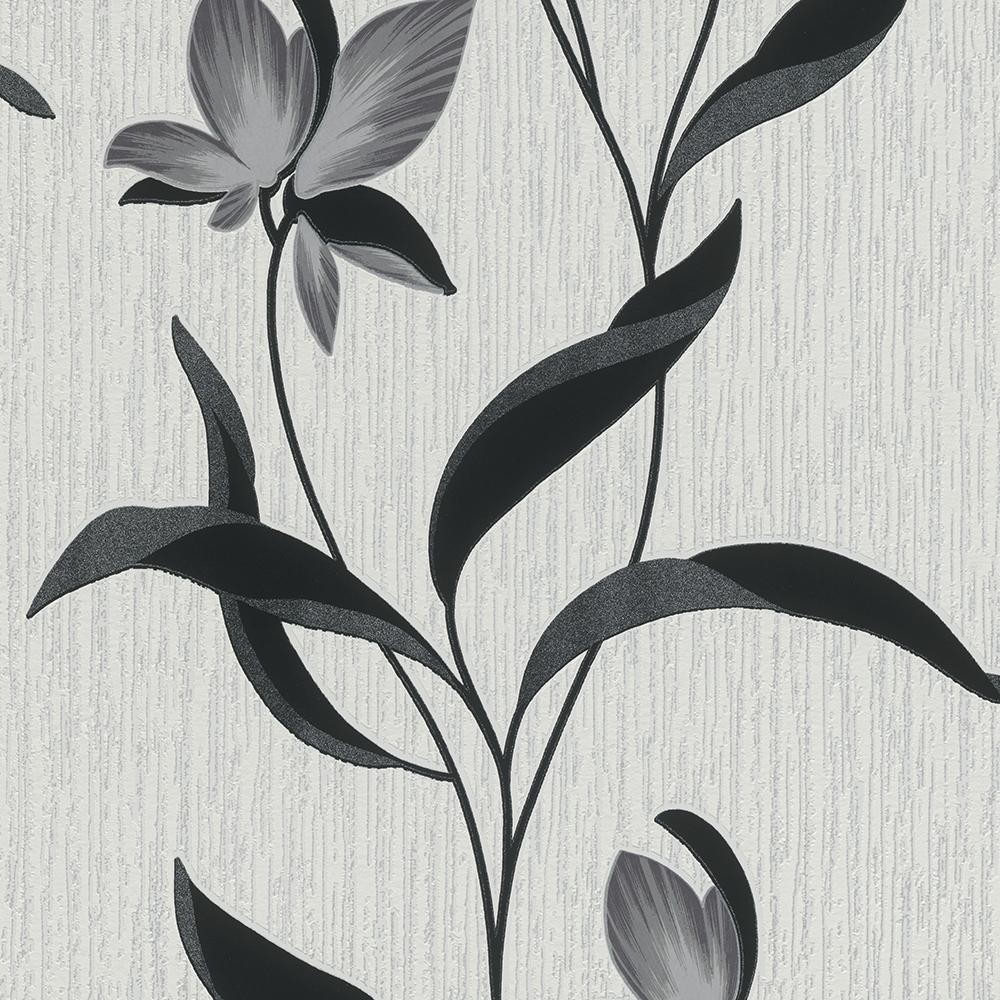 Erismann Wallpapers Fleur Grey Flower Wallpaper