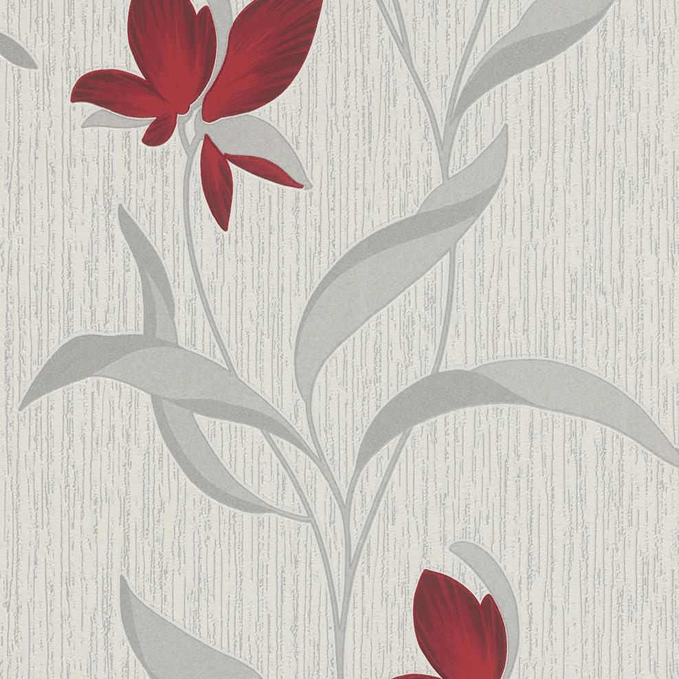 Fleur Red And Silver Flower Trail Wallpaper By Erismann