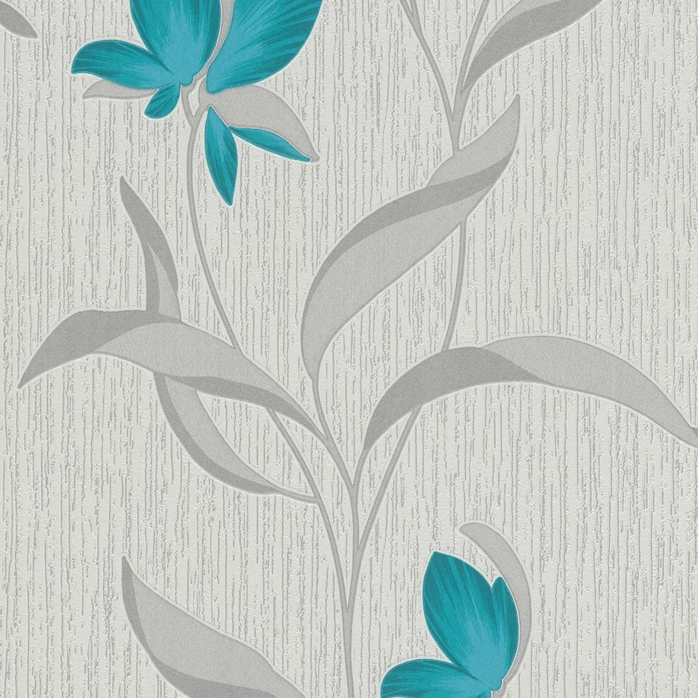 Erismann Wallpapers Fleur Teal Flower Wallpaper