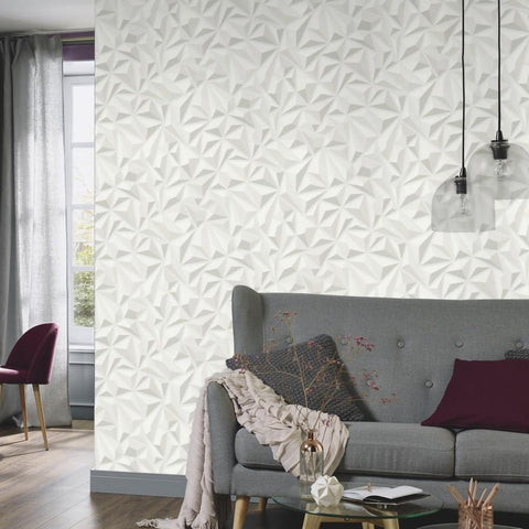 Erismann Wallpapers Mix-Up Light Grey 3D Geometric Wallpaper