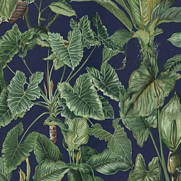 Paradisio Blue Green Jungle Leaves Wallpaper