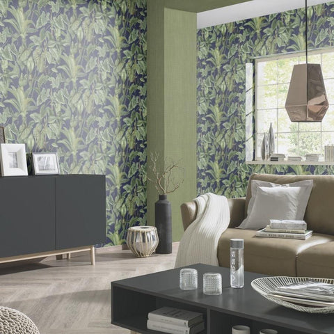 Erismann Wallpapers Paradisio Blue / Green Jungle Leaves Wallpaper