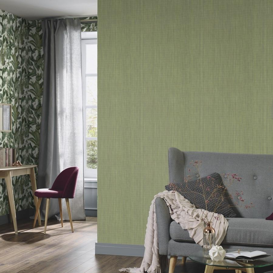 Erismann Wallpapers Paradisio Green Grasscloth Effect Wallpaper