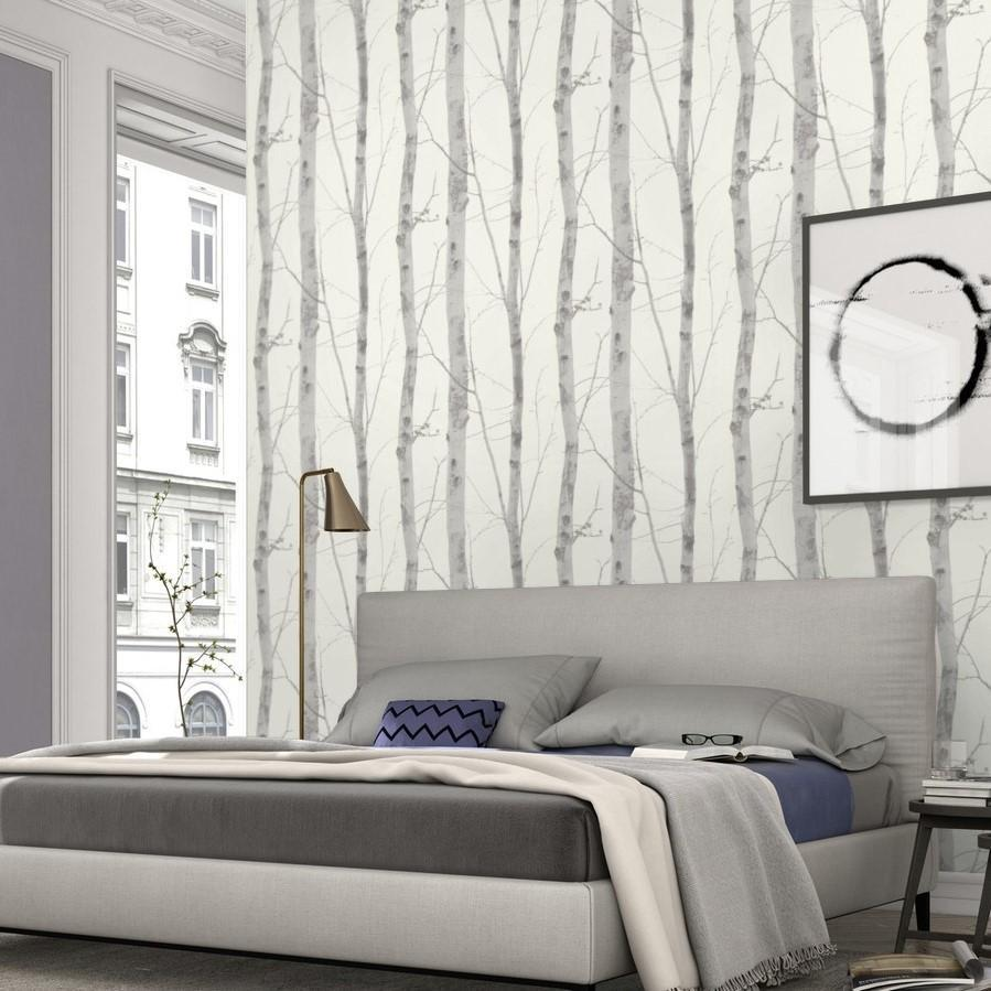 Erismann Wallpapers Paradisio White / Grey Birch Tree Wallpaper