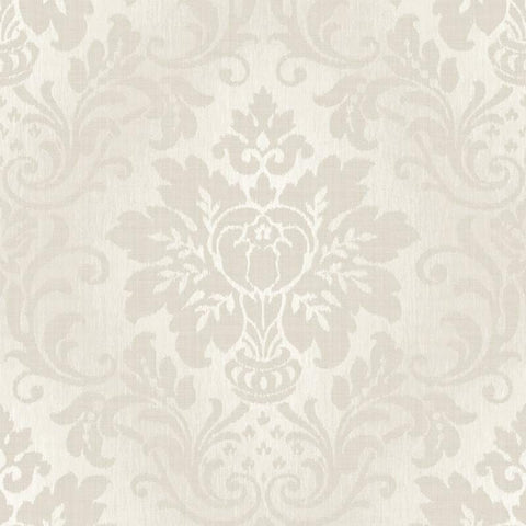 Fabric Damask Taupe and Beige Wallpaper