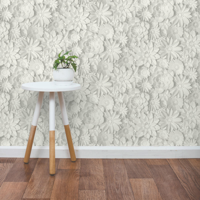 Dimensions 3D Flower Print White / Grey Wallpaper