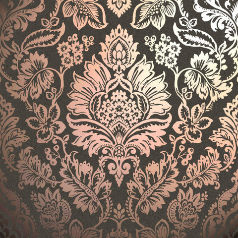 Metallic copper foil damask on charcoal wallpaper