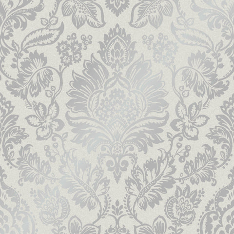 Platinum Foil Damask Silver and Grey Wallpaper