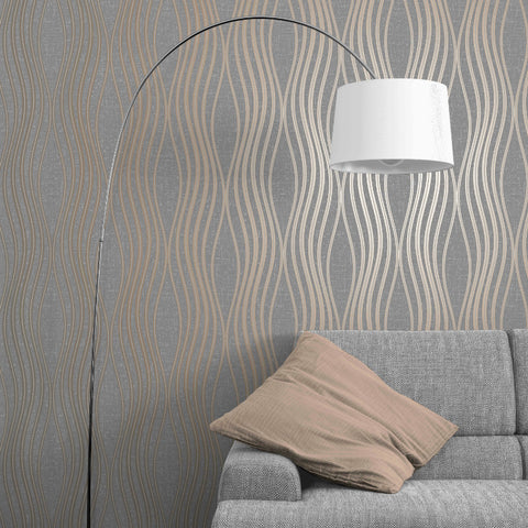 Charcoal and copper modern wave wallpaper in living room