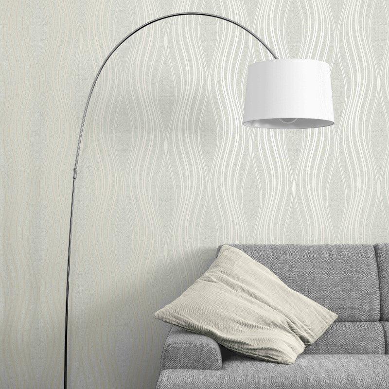Silver grey modern wave wallpaper in living room