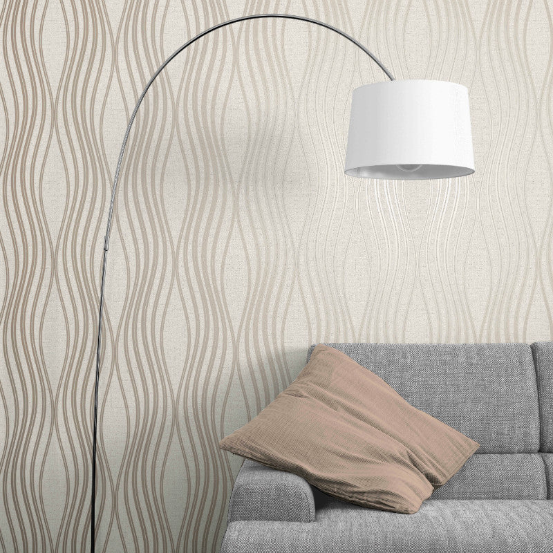 Stone beige and rose gold wave wallpaper in living room