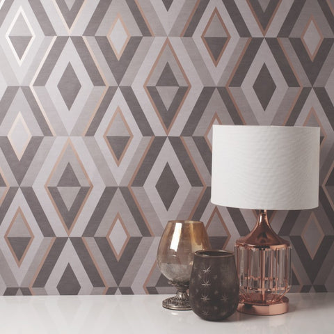 Shard Charcoal and Copper Geometric Wallpaper