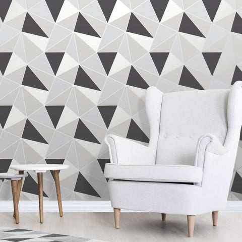 Fine Decor Wallpapers Apex Black and Silver Geometric Wallpaper
