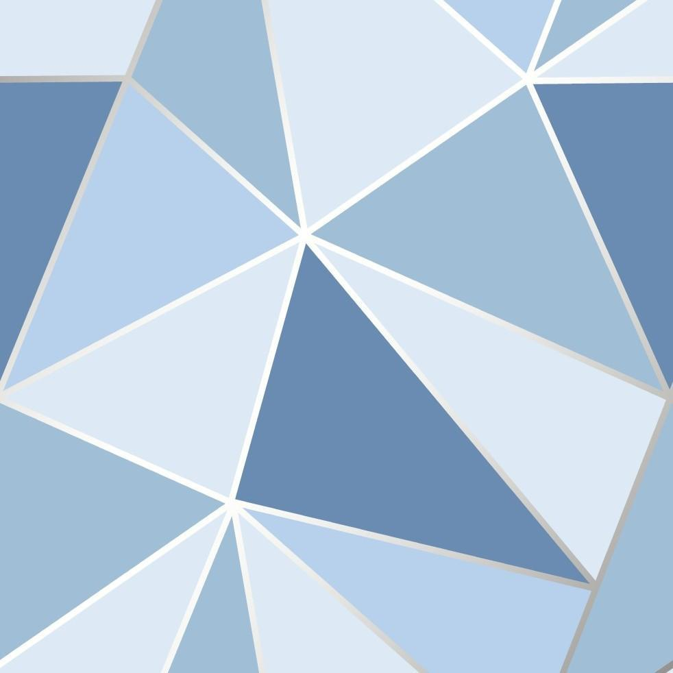 Apex Blue Geometric Triangles Wallpaper by Fine Decor FD41992