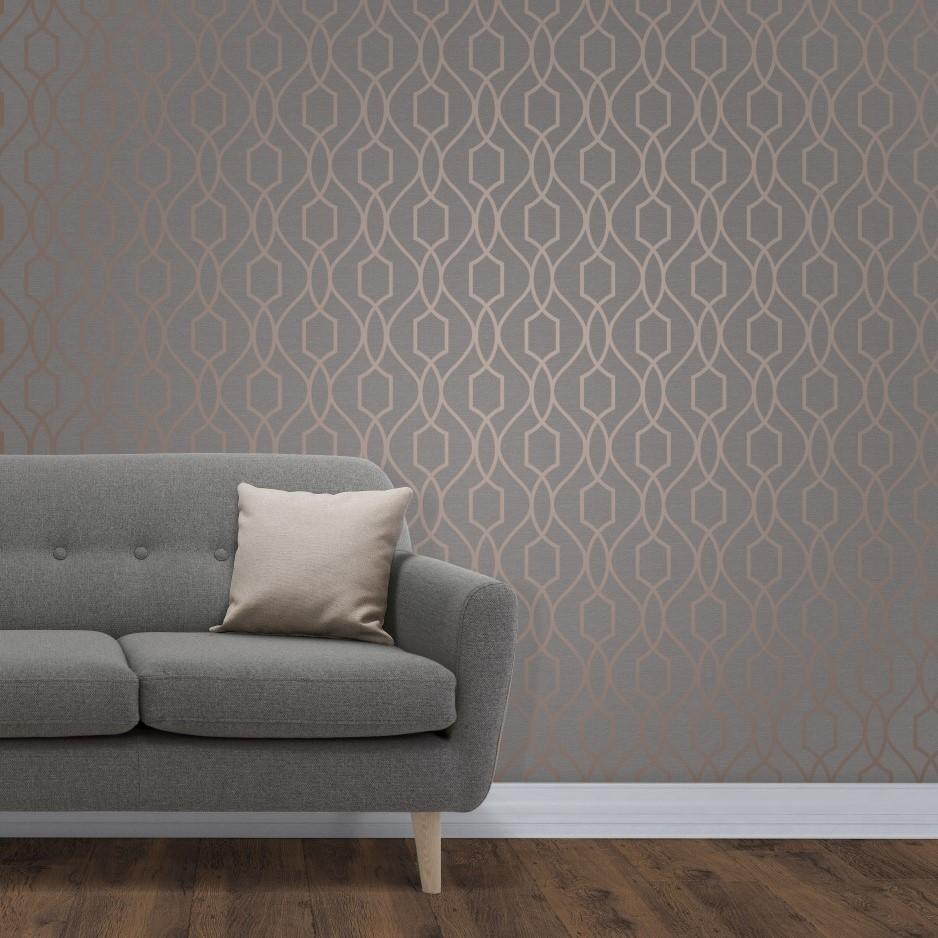 Fine Decor Wallpapers Apex Dark Grey and Copper Trellis Wallpaper