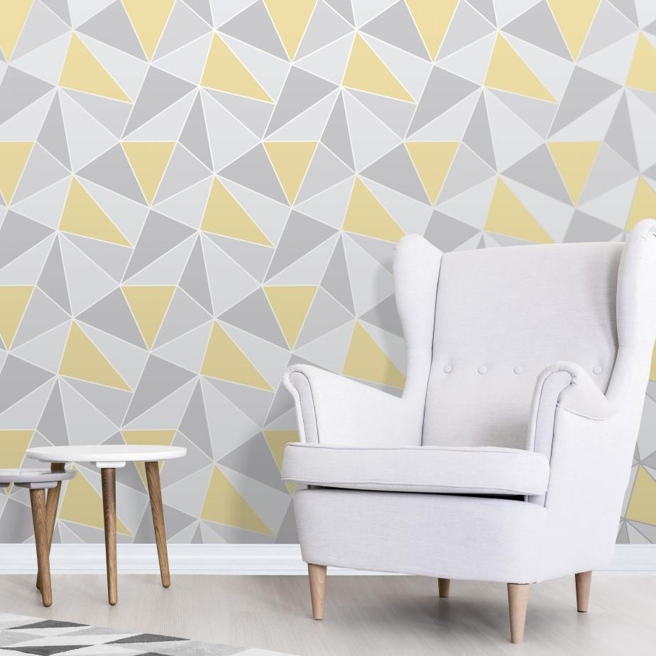Fine Decor Wallpapers Apex Grey / Yellow Geometric Wallpaper