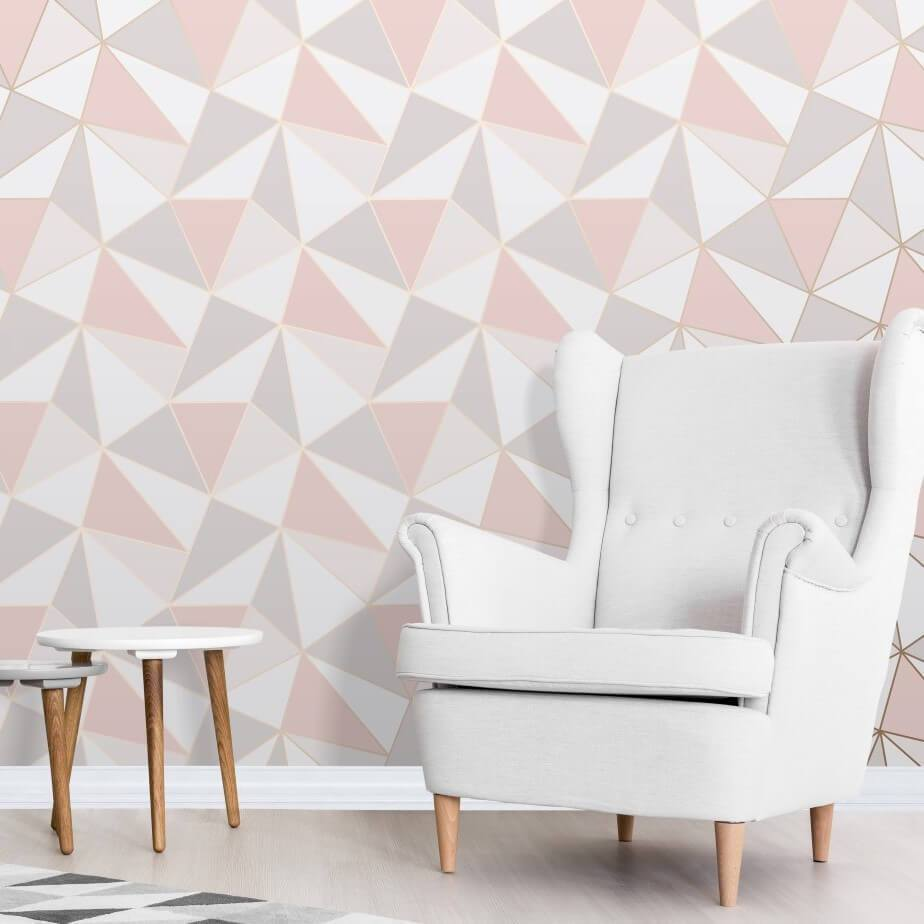Apex Pink And Rose Gold Geometric Wallpaper By Fine Decor Fd41993