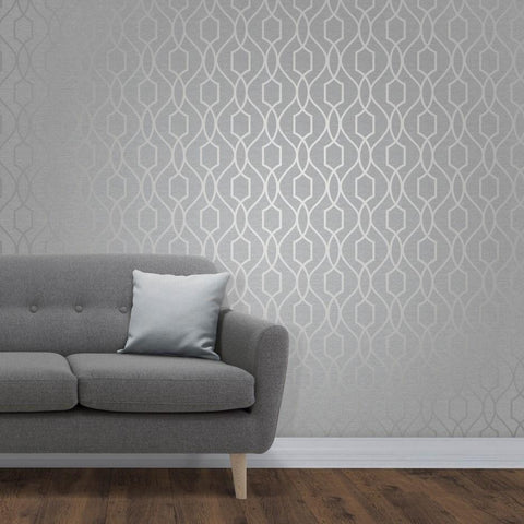 Fine Decor Wallpapers Apex Silver Trellis Wallpaper