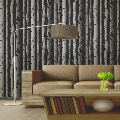 Fine Decor Wallpapers Birch Tree   Black/Silver