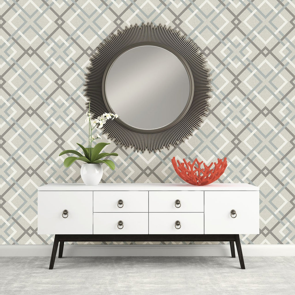 Fine Decor Wallpapers China Blue and Grey Geometric Lattice Wallpaper