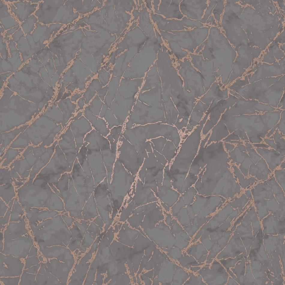 Fine Decor Wallpapers Marblesque Charcoal / Copper Metallic Marble Wallpaper