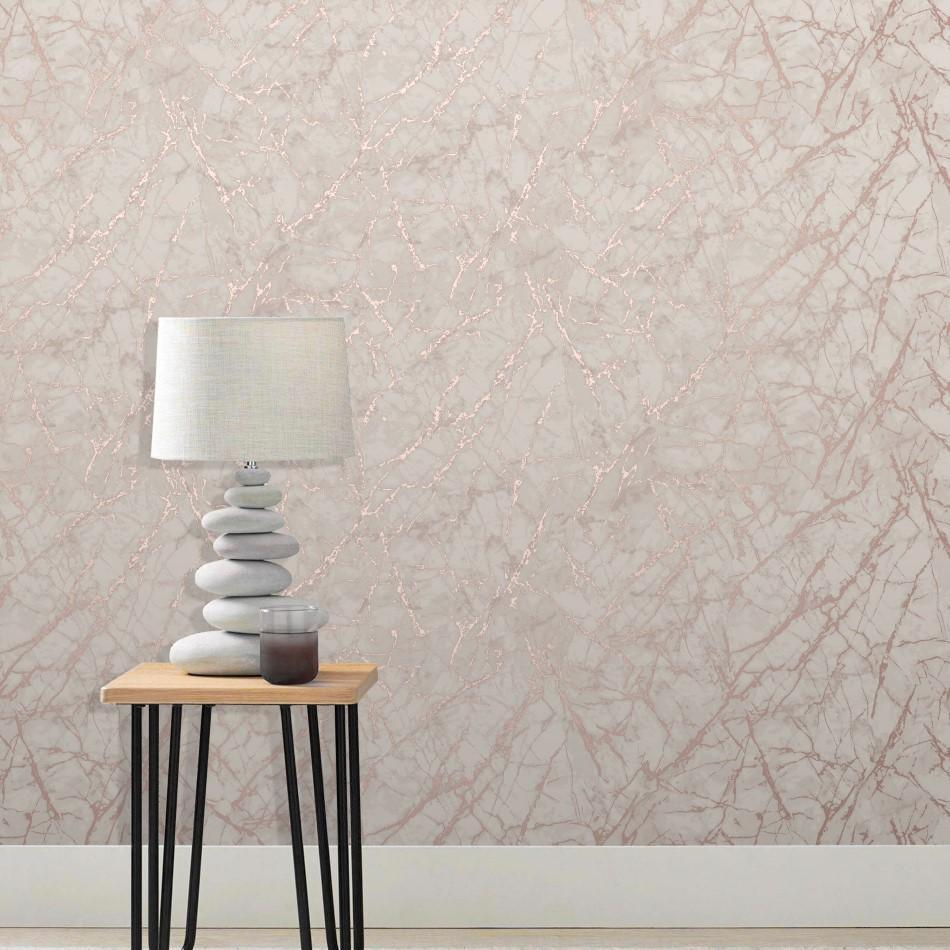 Fine Decor Wallpapers Marblesque Dusky Pink Rose Gold Metallic Marble Wallpaper