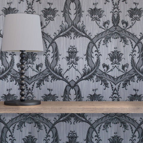 Fine Decor Wallpapers Milano Grey and Black Damask Wallpaper
