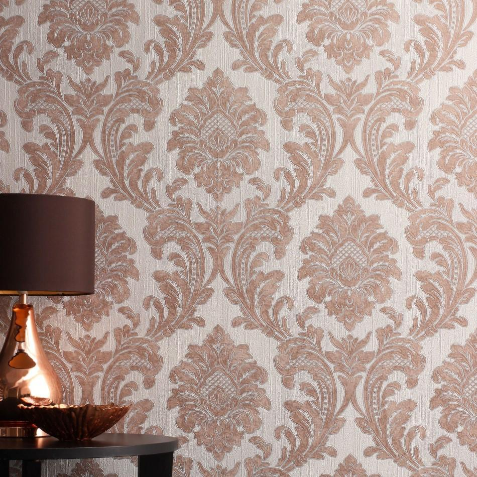 Milano Traditional Rose Gold Damask Wallpaper M95595
