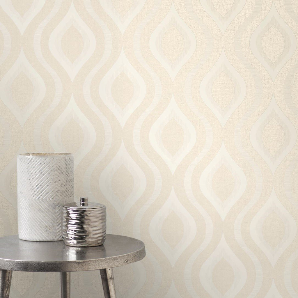 Fine Decor Wallpapers Quartz Cream Retro Geo Wallpaper