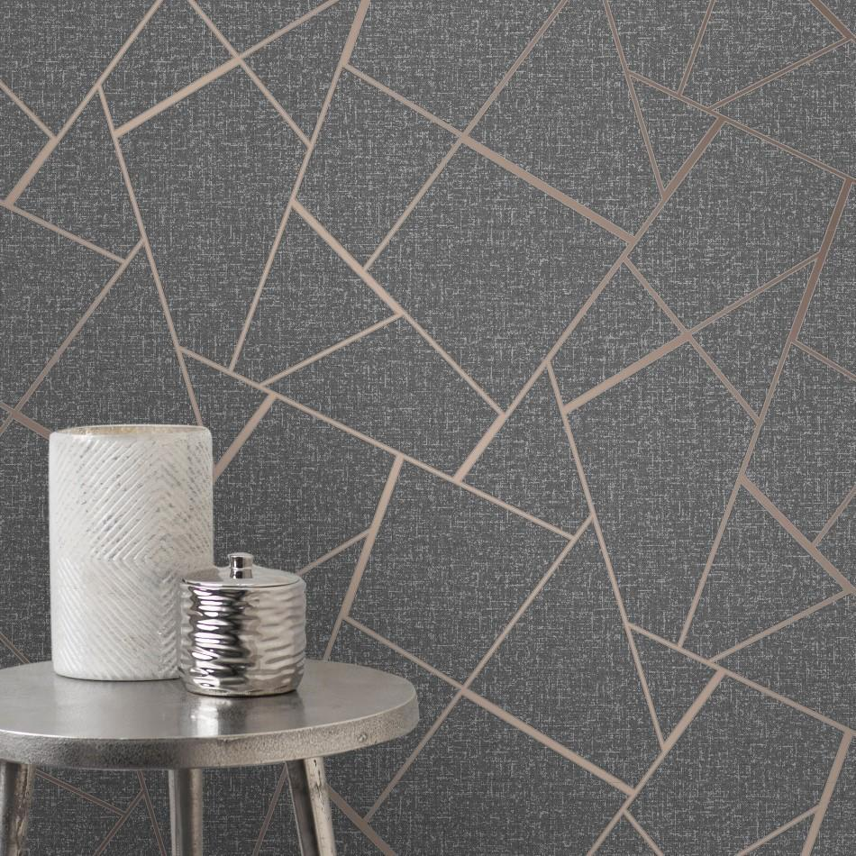 Fine Decor Wallpapers Quartz Fractal Charcoal / Rose Gold Geometric Wallpaper