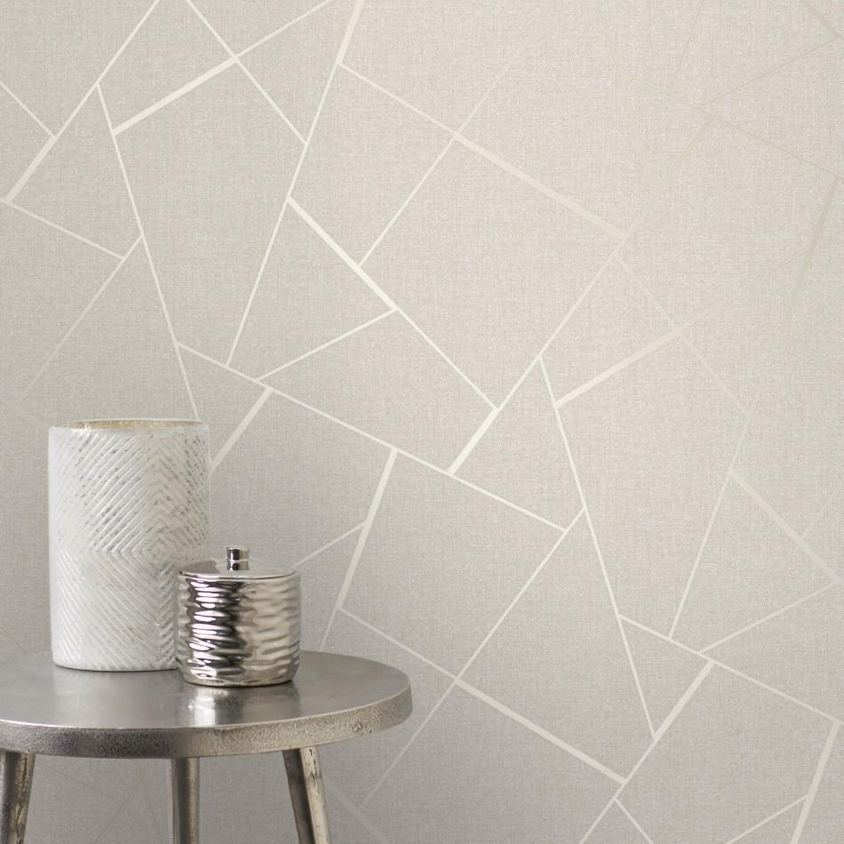 Fine Decor Wallpapers Quartz Fractal Cream Geometric Wallpaper