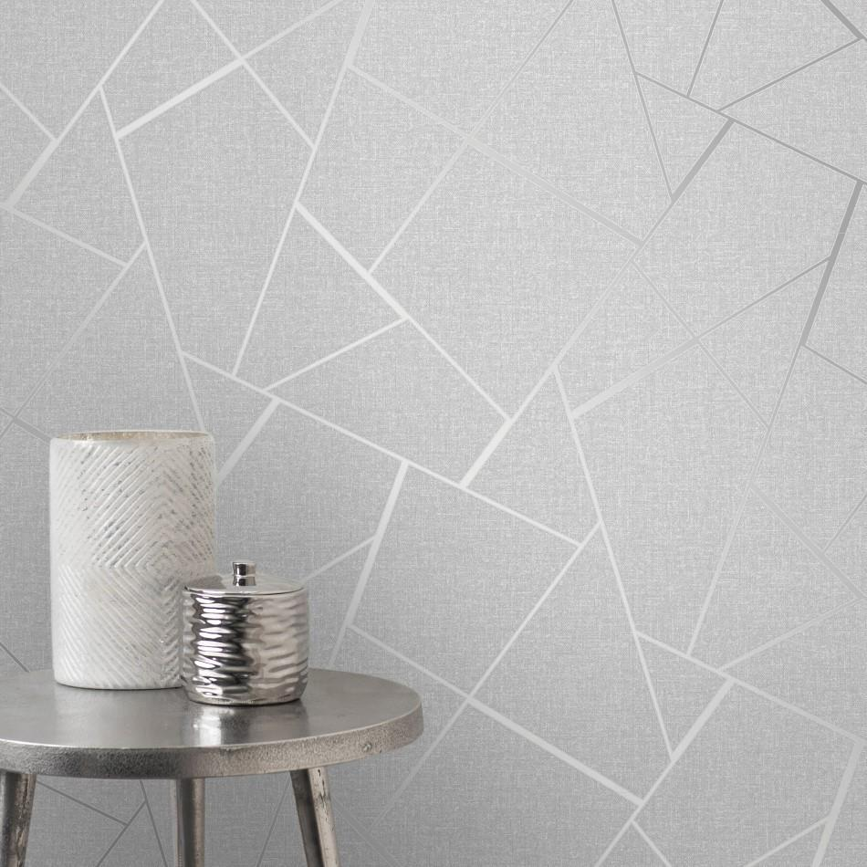 Fine Decor Wallpapers Quartz Fractal Silver Geometric Wallpaper