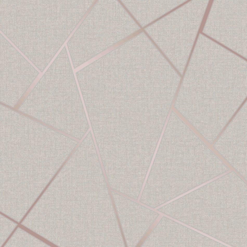 Fine Decor Wallpapers Quartz Fractal Stone / Rose Gold Geometric Wallpaper