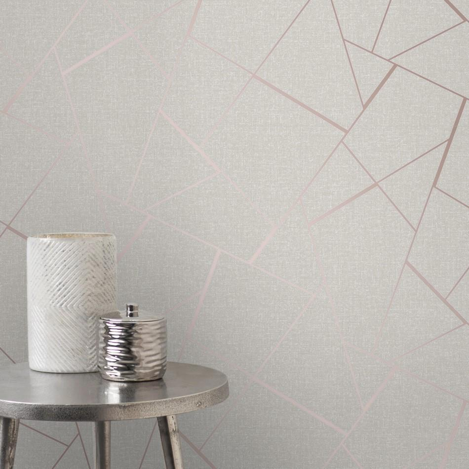 Quartz Rose Gold Geometric Wallpaper By Fine Decor Fd42282