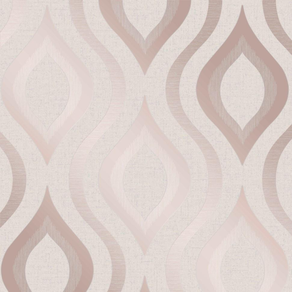 Fine Decor Wallpapers Quartz Rose Gold Retro Geo Wallpaper