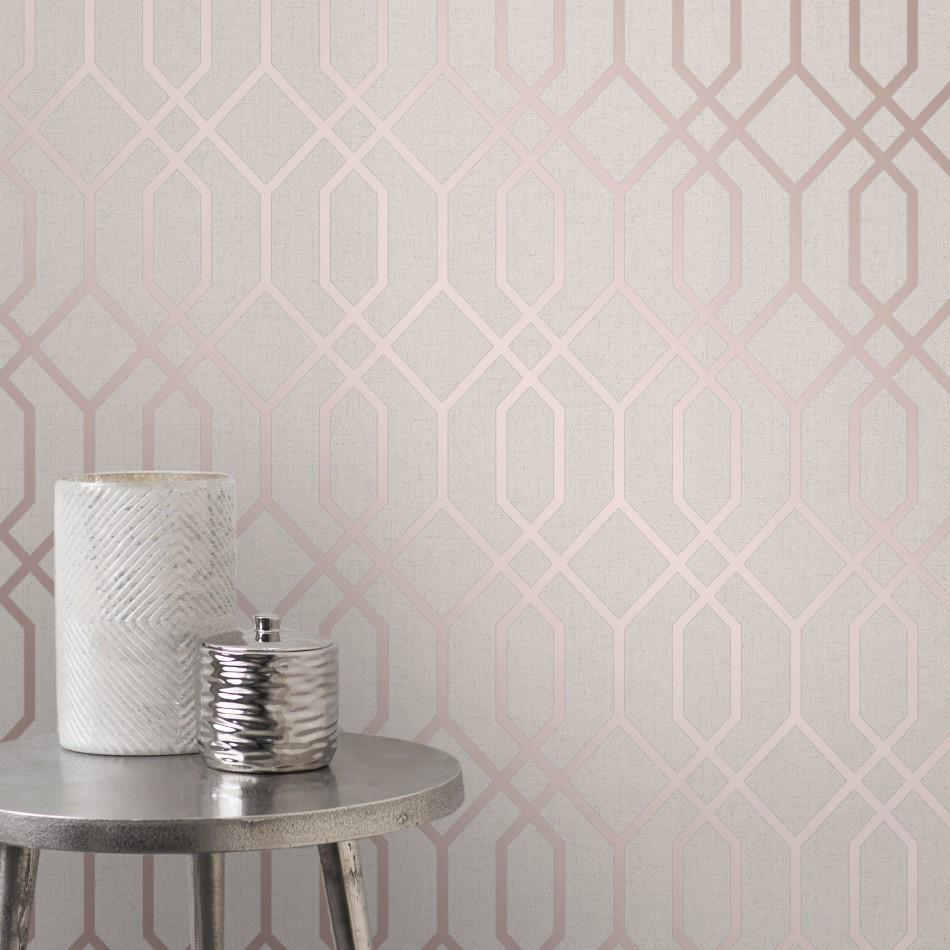 Quartz Stone And Rose Gold Geometric Trellis Wallpaper Fd42306
