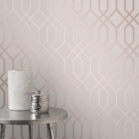 Fine Decor Wallpapers Quartz Stone / Rose Gold Geometric Trellis Wallpaper
