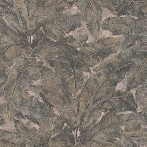 Francesca Charcoal Grey Palm Leaf Wallpaper