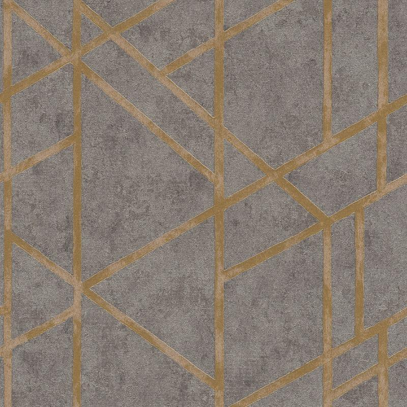 Francesca Geometric Concrete Grey / Gold Wallpaper