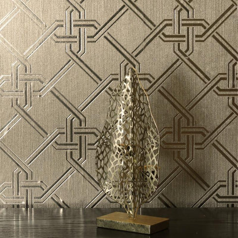 Foil Geometric Link Gianni Champagne Gold Wallpaper