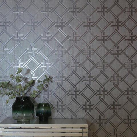 Foil Geometric Link Gianni Gunmetal and Silver Wallpaper