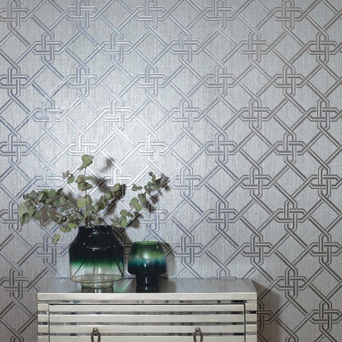 Foil Geometric Link Gianni Silver Wallpaper