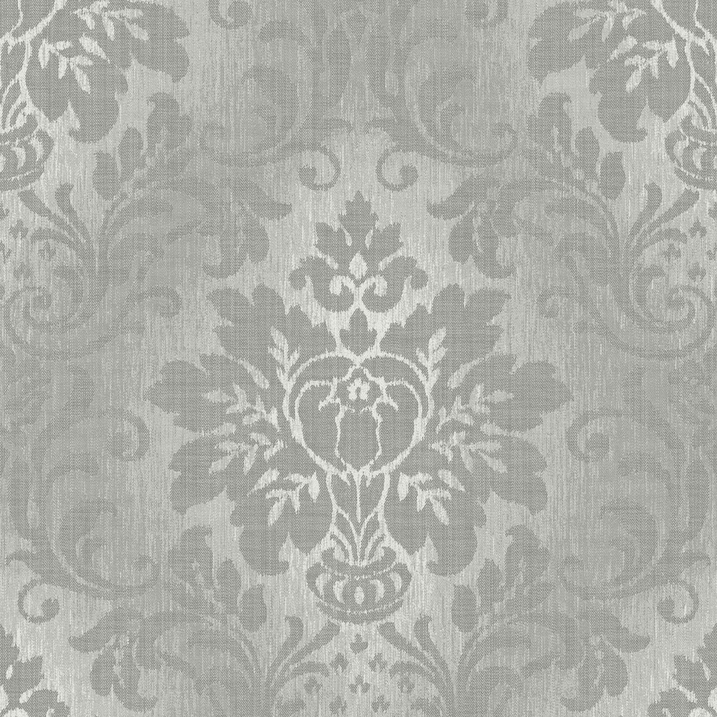 Grandeco Wallpapers Fabric Damask Silver Wallpaper
