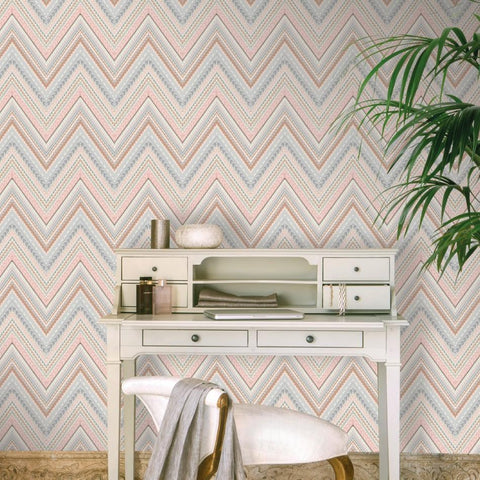 Grandeco Wallpapers Pandora Rose Gold / Pink Chevron Wallpaper