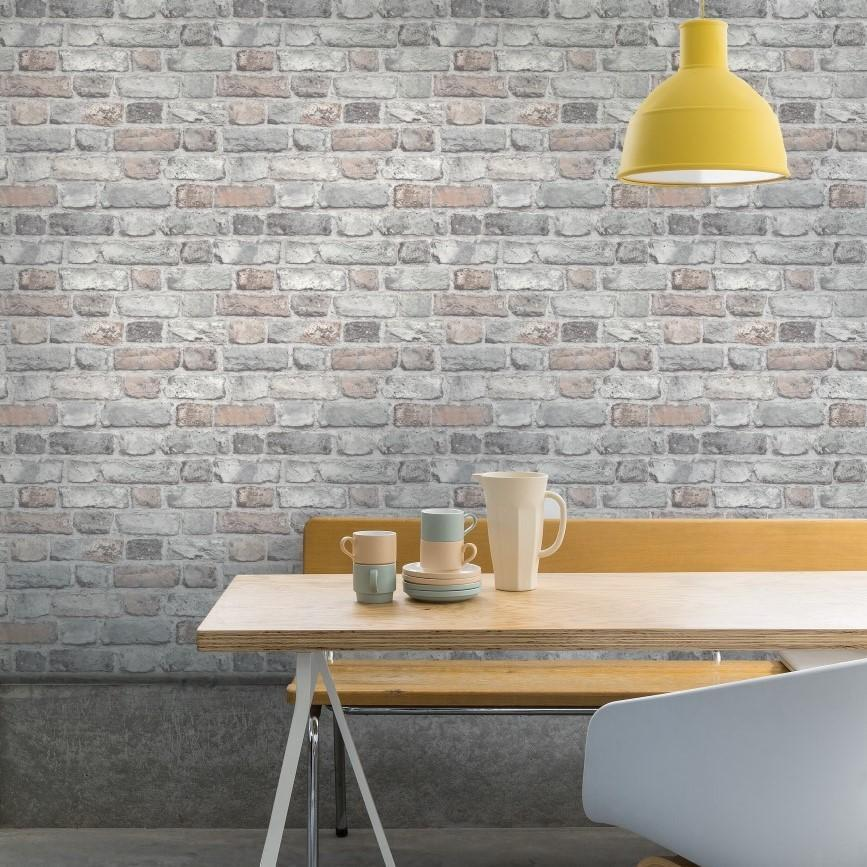 Grandeco Wallpapers Vintage Pastel Light Grey Brick Wallpaper