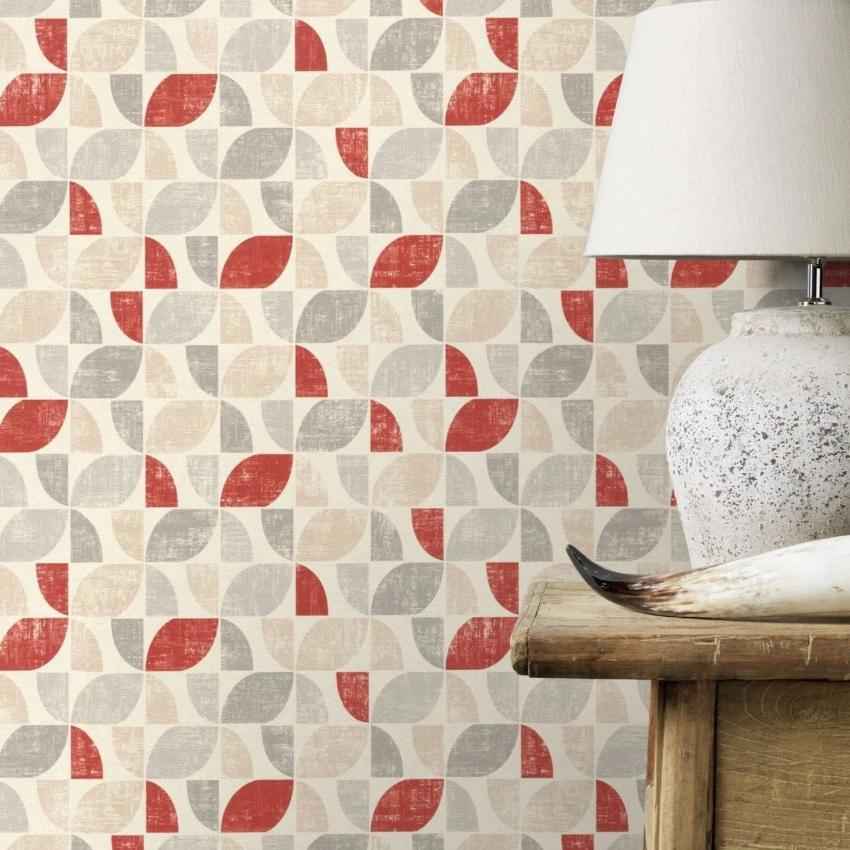 Selection Vinyl 6 Graphic Vintage Red and Grey Wallpaper