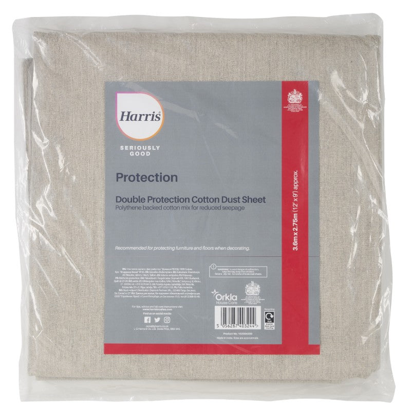 Harris Seriously Good Double Protection Cotton Dust Sheet (3.6m x 2.75m)